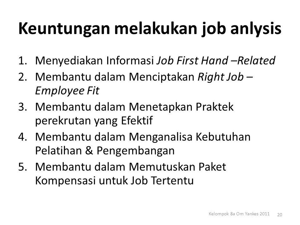 Keuntungan melakukan job anlysis 1.Menyediakan Informasi Job First Hand –Related 2.Membantu dalam Menciptakan Right Job – Employee Fit 3.Membantu dala