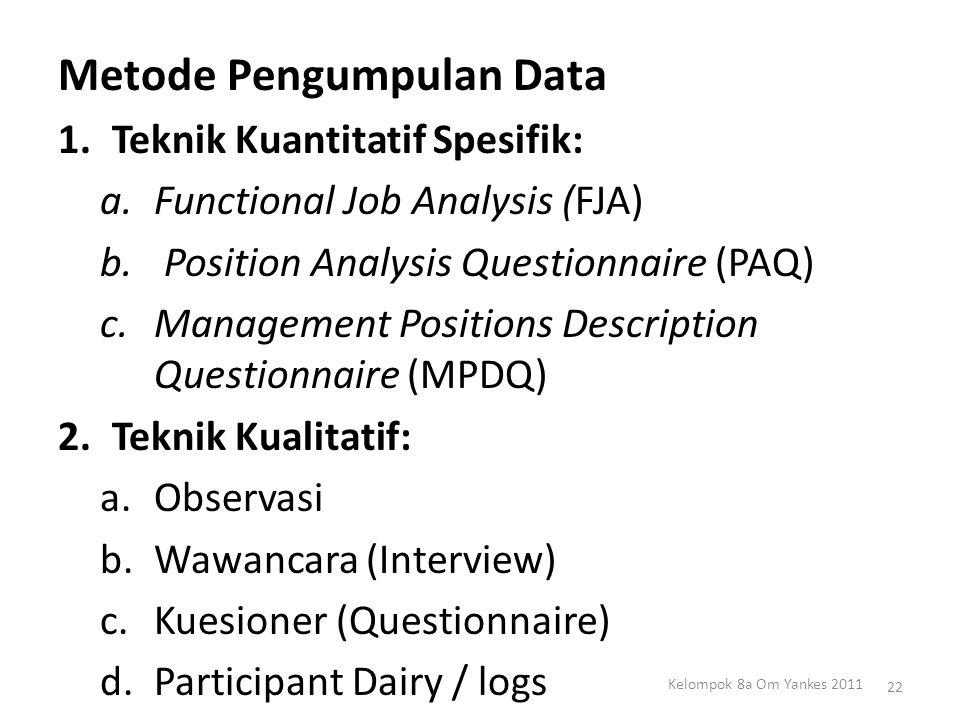 Metode Pengumpulan Data 1.Teknik Kuantitatif Spesifik: a.Functional Job Analysis (FJA) b. Position Analysis Questionnaire (PAQ) c.Management Positions
