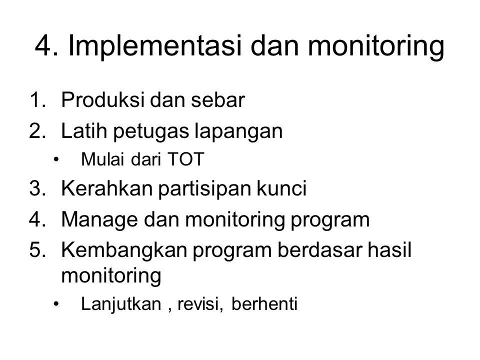 4. Implementasi dan monitoring 1.Produksi dan sebar 2.Latih petugas lapangan Mulai dari TOT 3.Kerahkan partisipan kunci 4.Manage dan monitoring progra