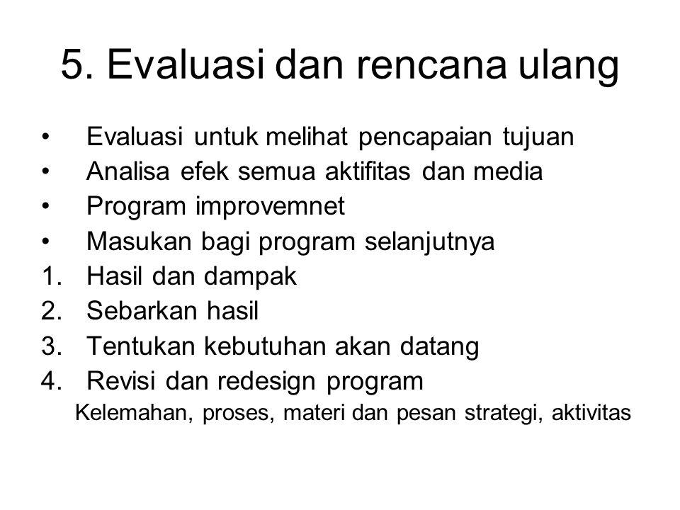 5. Evaluasi dan rencana ulang Evaluasi untuk melihat pencapaian tujuan Analisa efek semua aktifitas dan media Program improvemnet Masukan bagi program