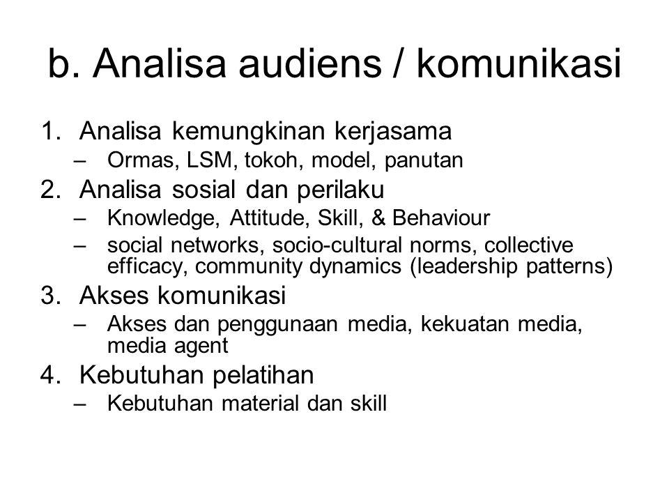 b. Analisa audiens / komunikasi 1.Analisa kemungkinan kerjasama –Ormas, LSM, tokoh, model, panutan 2.Analisa sosial dan perilaku –Knowledge, Attitude,