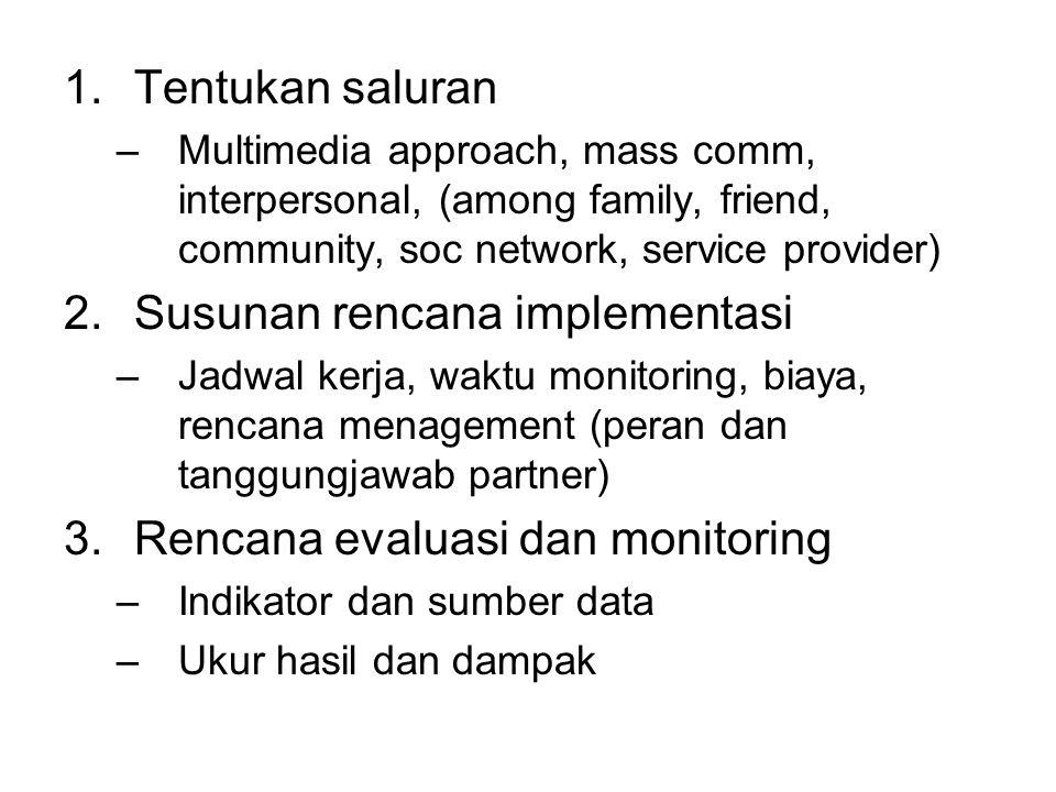 1.Tentukan saluran –Multimedia approach, mass comm, interpersonal, (among family, friend, community, soc network, service provider) 2.Susunan rencana