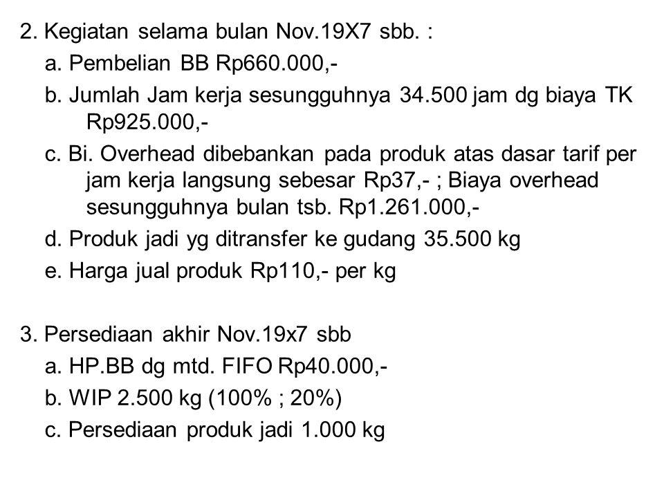 2. Kegiatan selama bulan Nov.19X7 sbb. : a. Pembelian BB Rp660.000,- b. Jumlah Jam kerja sesungguhnya 34.500 jam dg biaya TK Rp925.000,- c. Bi. Overhe