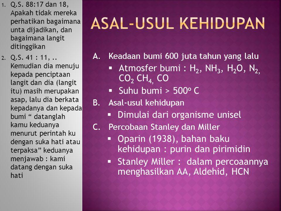 HCN + Amoniak  Adenin dan Asam orotik Proses fotokimia dengan matahari mampu mengubah HCN menjadi Urasil Formalin dipolimerisasi akan membentuk gula ribosa ASAM AMINO DAPAT TERBENTUK SECARA ABIOTIK