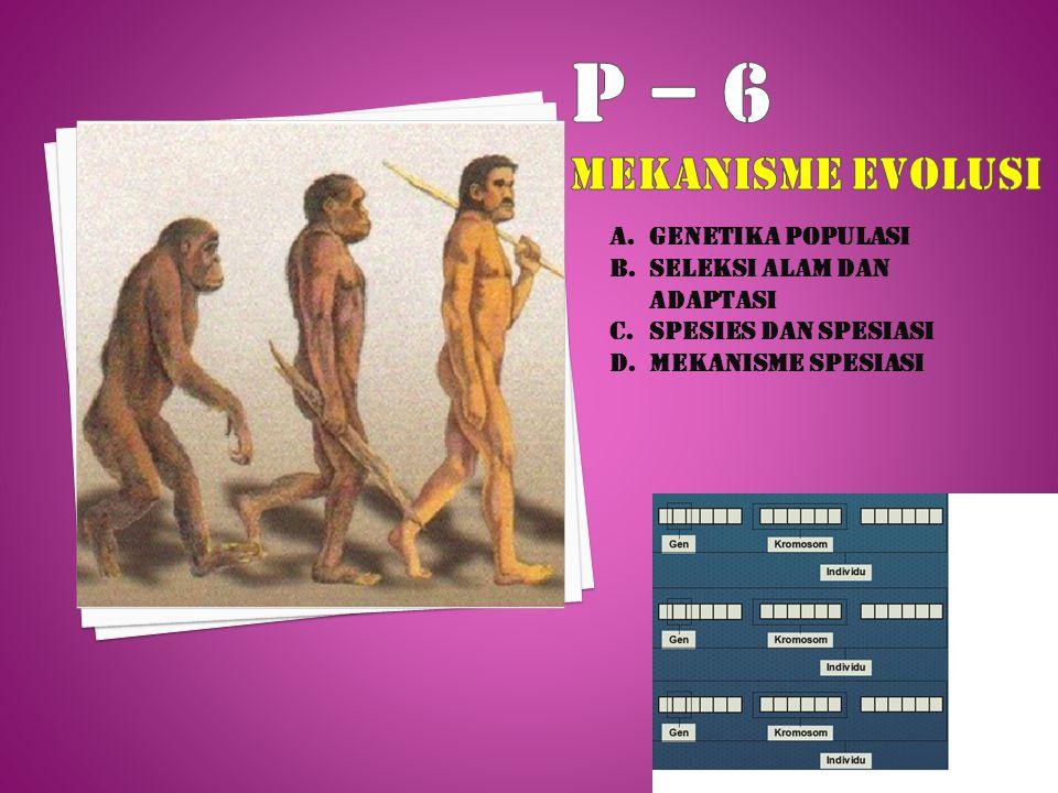 A.GENETIKA POPULASI B.SELEKSI ALAM DAN ADAPTASI C.SPESIES DAN SPESIASI D.MEKANISME SPESIASI