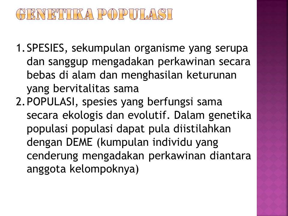 1.SPESIES, sekumpulan organisme yang serupa dan sanggup mengadakan perkawinan secara bebas di alam dan menghasilan keturunan yang bervitalitas sama 2.POPULASI, spesies yang berfungsi sama secara ekologis dan evolutif.