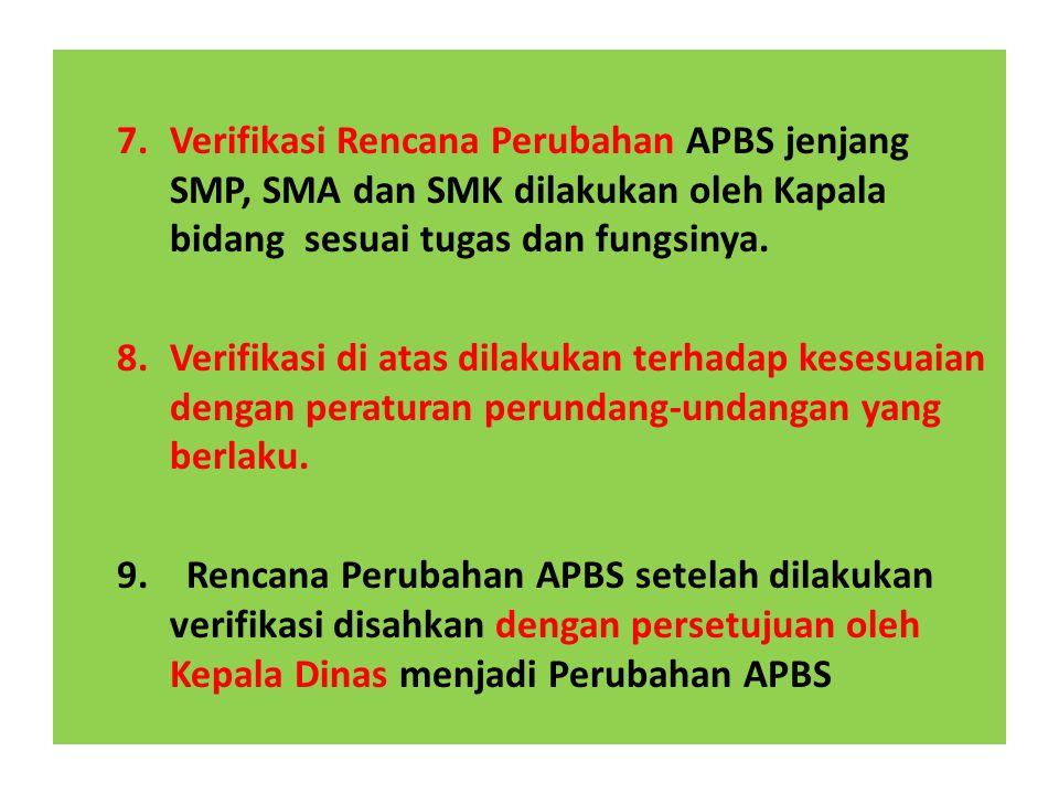 7.Verifikasi Rencana Perubahan APBS jenjang SMP, SMA dan SMK dilakukan oleh Kapala bidang sesuai tugas dan fungsinya.