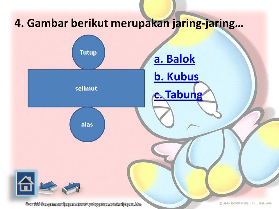 3.Gambar berikut merupakan jaring-jaring… a. Kubus b. Balok c. Tabung