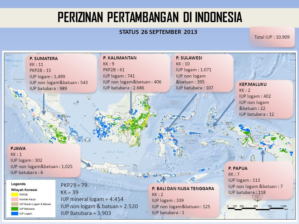 PERIZINAN PERTAMBANGAN DI INDONESIA PKP2B = 79 KK = 39 IUP mineral logam = 4.454 IUP non logam & batuan = 2.520 IUP Batubara = 3.903 STATUS 26 SEPTEMB