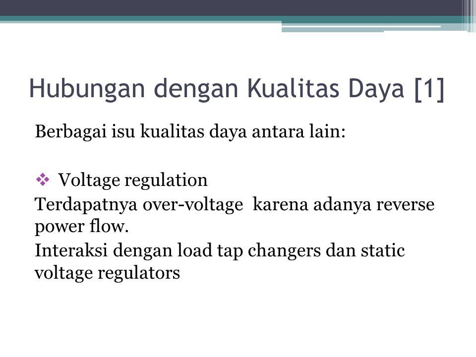 Hubungan dengan Kualitas Daya [1] Berbagai isu kualitas daya antara lain:  Voltage regulation Terdapatnya over-voltage karena adanya reverse power fl