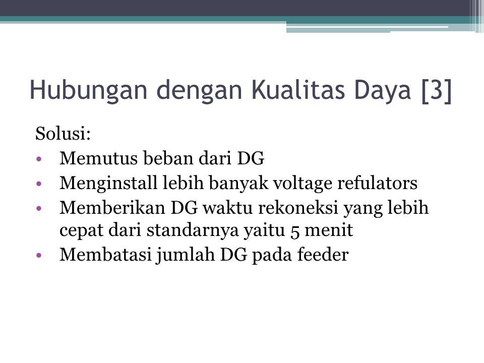 Hubungan dengan Kualitas Daya [3] Solusi: Memutus beban dari DG Menginstall lebih banyak voltage refulators Memberikan DG waktu rekoneksi yang lebih c