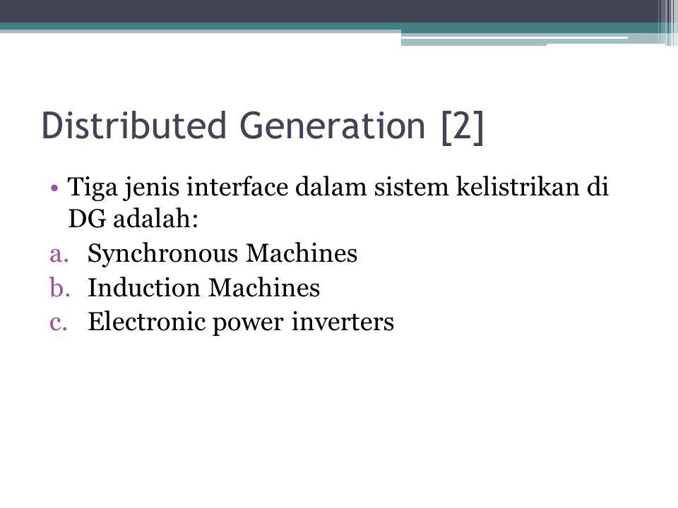 Distributed Generation [2] Tiga jenis interface dalam sistem kelistrikan di DG adalah: a.Synchronous Machines b.Induction Machines c.Electronic power
