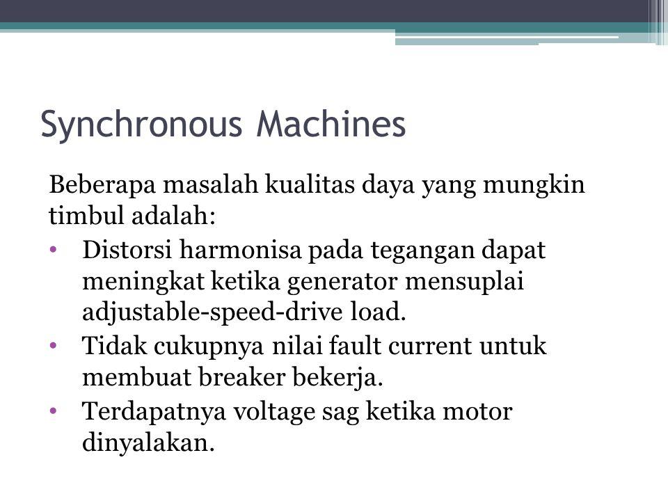 Synchronous Machines Beberapa masalah kualitas daya yang mungkin timbul adalah: Distorsi harmonisa pada tegangan dapat meningkat ketika generator mens