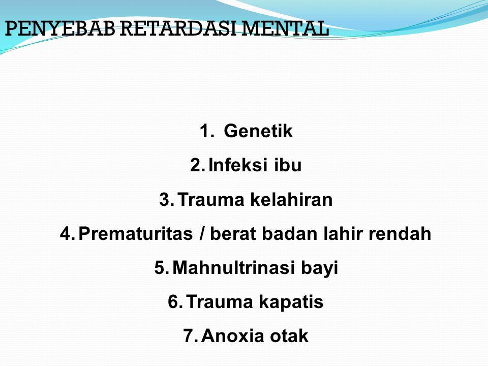 PENYEBAB RETARDASI MENTAL 1.Genetik 2.Infeksi ibu 3.Trauma kelahiran 4.Prematuritas / berat badan lahir rendah 5.Mahnultrinasi bayi 6.Trauma kapatis 7