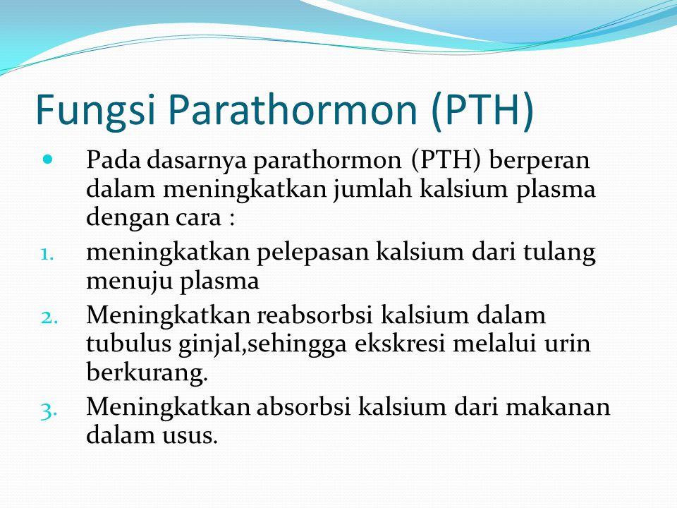 Fungsi Parathormon (PTH) Pada dasarnya parathormon (PTH) berperan dalam meningkatkan jumlah kalsium plasma dengan cara : 1. meningkatkan pelepasan kal