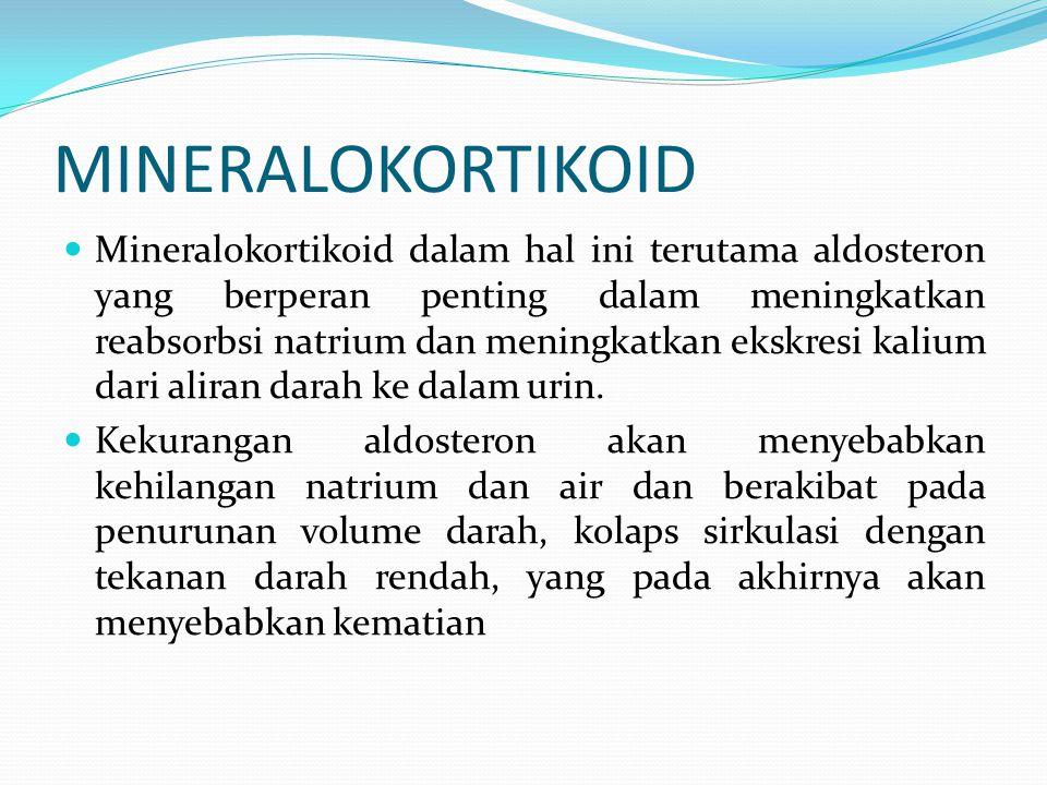 MINERALOKORTIKOID Mineralokortikoid dalam hal ini terutama aldosteron yang berperan penting dalam meningkatkan reabsorbsi natrium dan meningkatkan eks