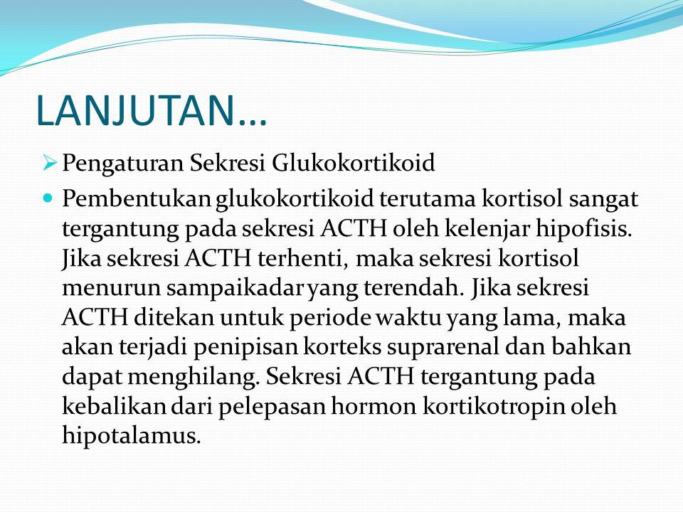 LANJUTAN…  Pengaturan Sekresi Glukokortikoid Pembentukan glukokortikoid terutama kortisol sangat tergantung pada sekresi ACTH oleh kelenjar hipofisis