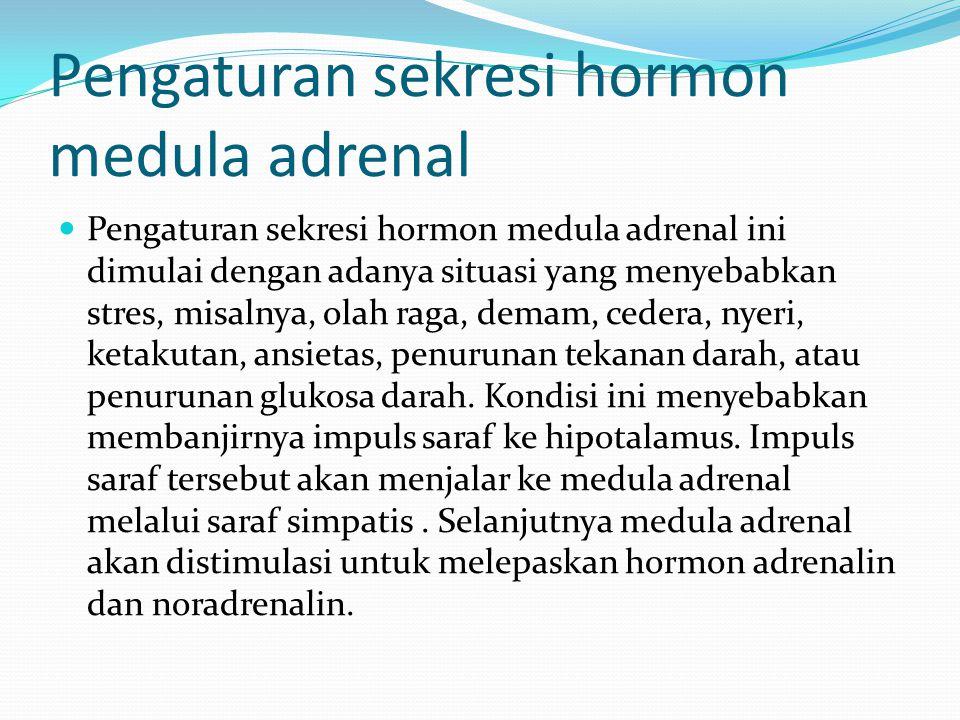 Pengaturan sekresi hormon medula adrenal Pengaturan sekresi hormon medula adrenal ini dimulai dengan adanya situasi yang menyebabkan stres, misalnya,