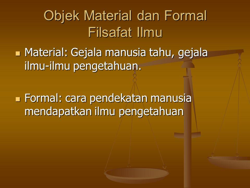 Objek Material dan Formal Filsafat Material: apa yang dipelajari sbg bahan kajian. Material: apa yang dipelajari sbg bahan kajian. Formal: cara pendek