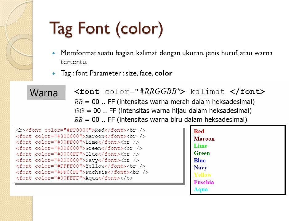 Tag Font (color) Memformat suatu bagian kalimat dengan ukuran, jenis huruf, atau warna tertentu. Tag : font Parameter : size, face, color