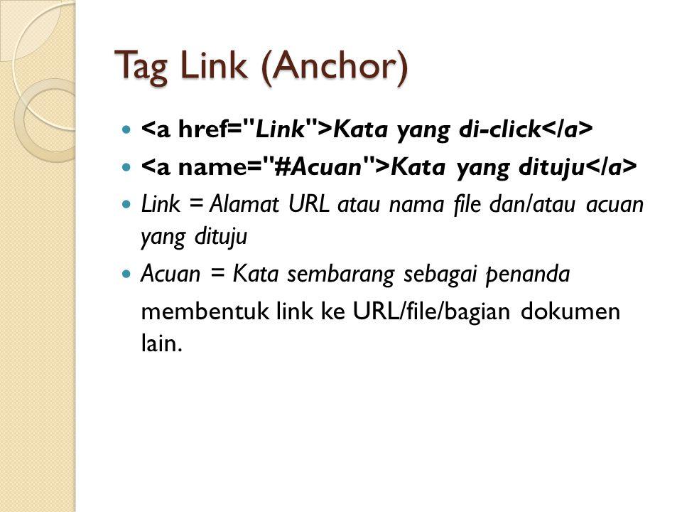 Tag Link (Anchor) Kata yang di-click Kata yang dituju Link = Alamat URL atau nama file dan/atau acuan yang dituju Acuan = Kata sembarang sebagai penan