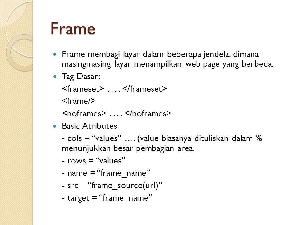Frame Frame membagi layar dalam beberapa jendela, dimana masingmasing layar menampilkan web page yang berbeda. Tag Dasar:........ Basic Atributes - co