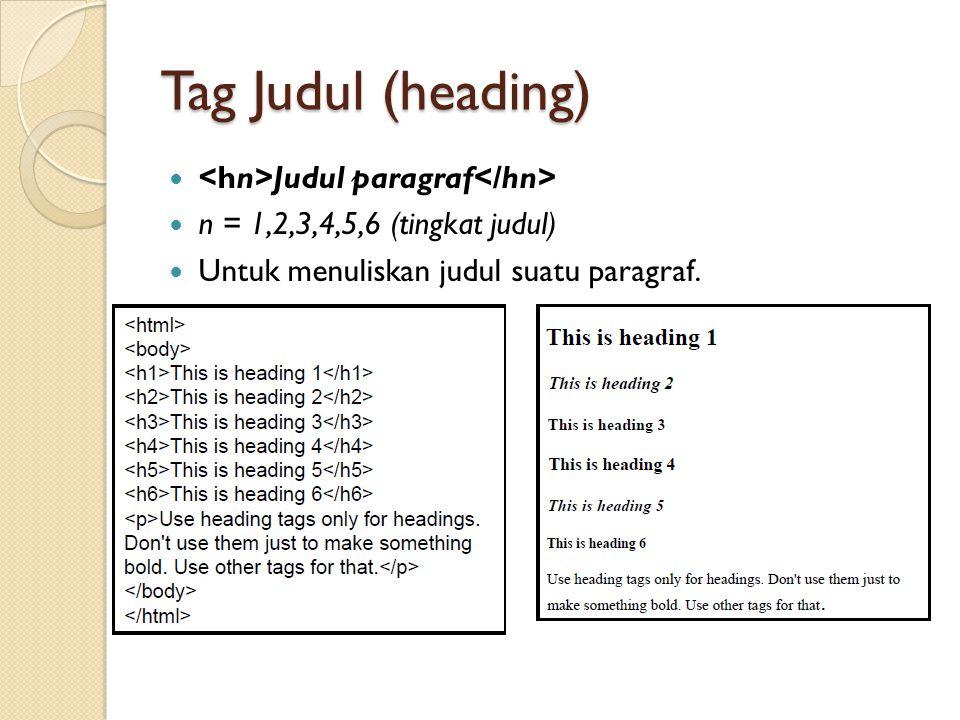 Tag Judul (heading) Judul paragraf n = 1,2,3,4,5,6 (tingkat judul) Untuk menuliskan judul suatu paragraf.