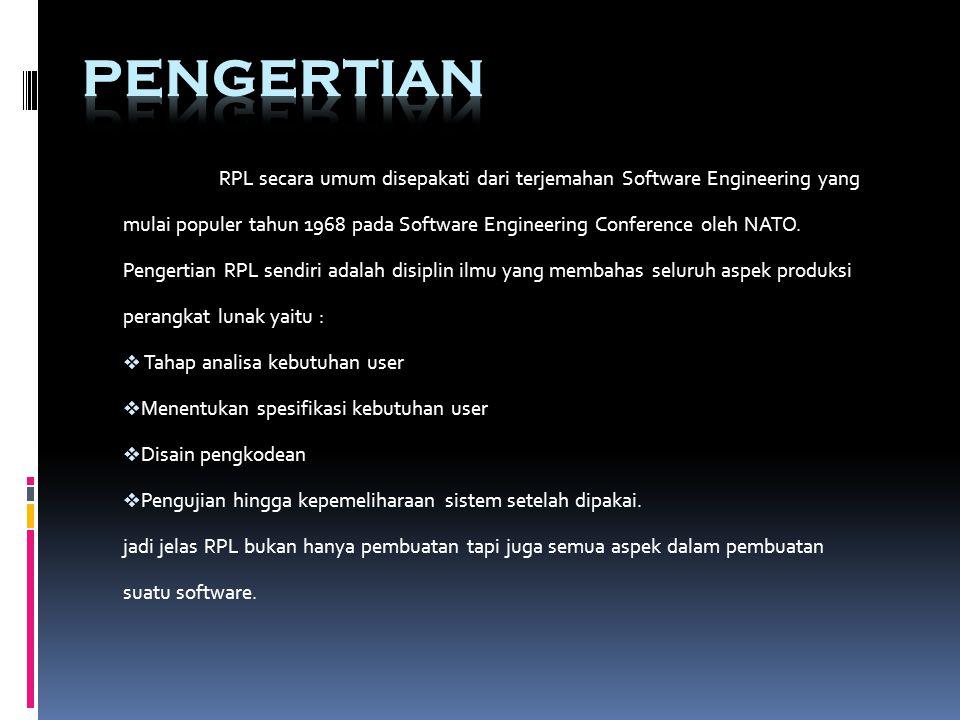 RPL secara umum disepakati dari terjemahan Software Engineering yang mulai populer tahun 1968 pada Software Engineering Conference oleh NATO.