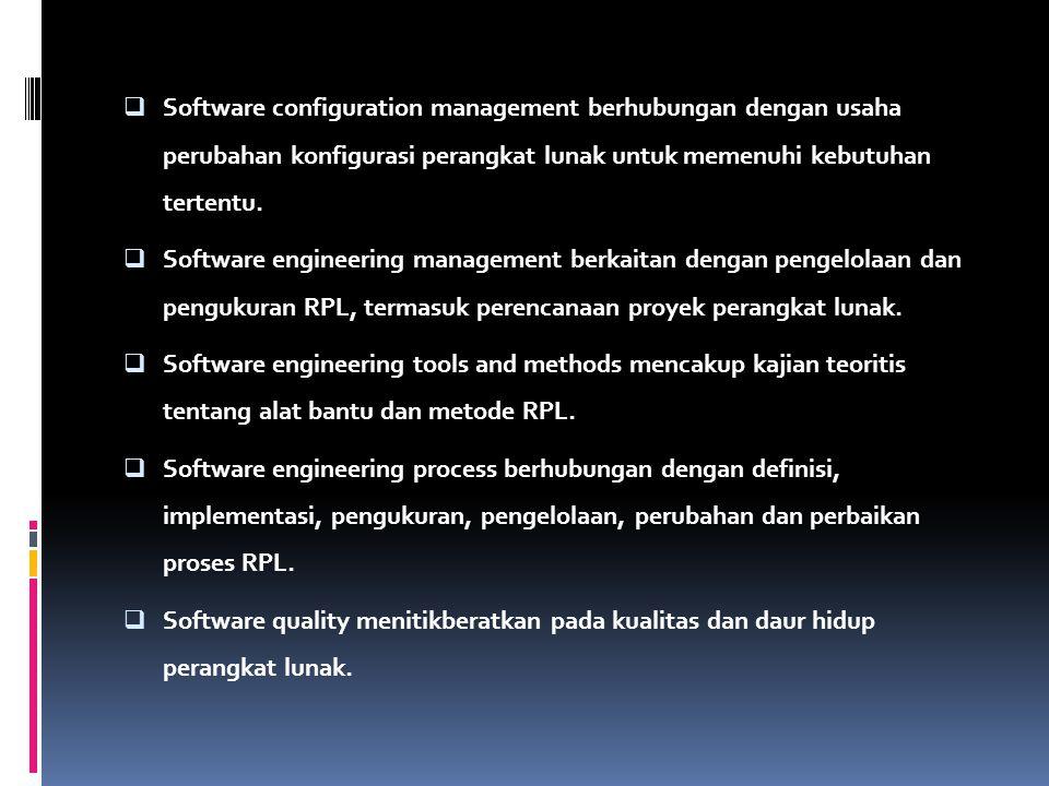  Software configuration management berhubungan dengan usaha perubahan konfigurasi perangkat lunak untuk memenuhi kebutuhan tertentu.