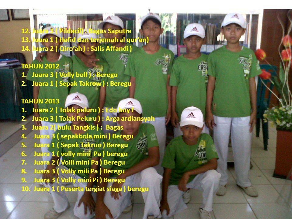 12. Juara 3 ( Pildacil) : Bagus Saputra 13. Juara 1 ( Hafid dan terjemah al qur'an) 14. Juara 2 ( Qiro'ah ) : Salis Affandi ) TAHUN 2012 1.Juara 3 ( V
