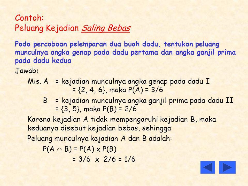 Contoh: Peluang Kejadian Saling Bebas Pada percobaan pelemparan dua buah dadu, tentukan peluang munculnya angka genap pada dadu pertama dan angka ganj