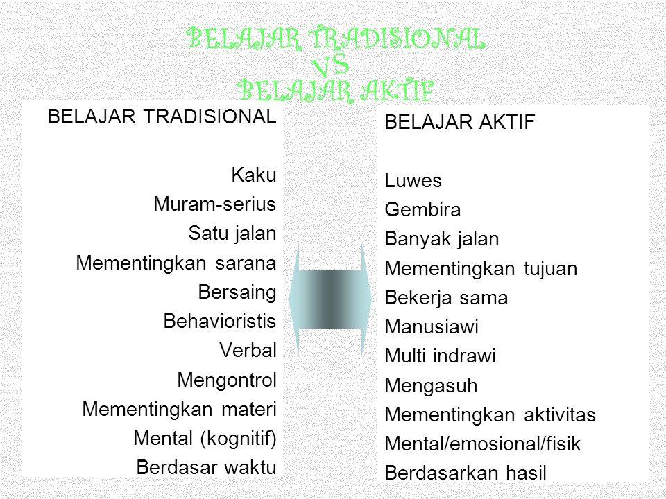 BELAJAR TRADISIONAL Kaku Muram-serius Satu jalan Mementingkan sarana Bersaing Behavioristis Verbal Mengontrol Mementingkan materi Mental (kognitif) Be