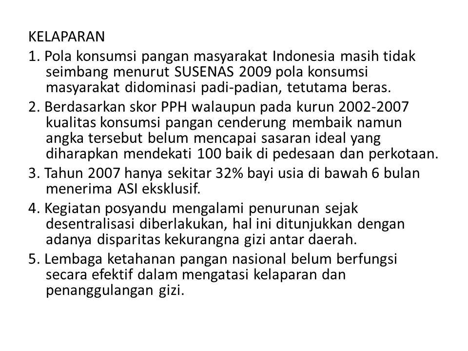 KELAPARAN 1. Pola konsumsi pangan masyarakat Indonesia masih tidak seimbang menurut SUSENAS 2009 pola konsumsi masyarakat didominasi padi-padian, tetu