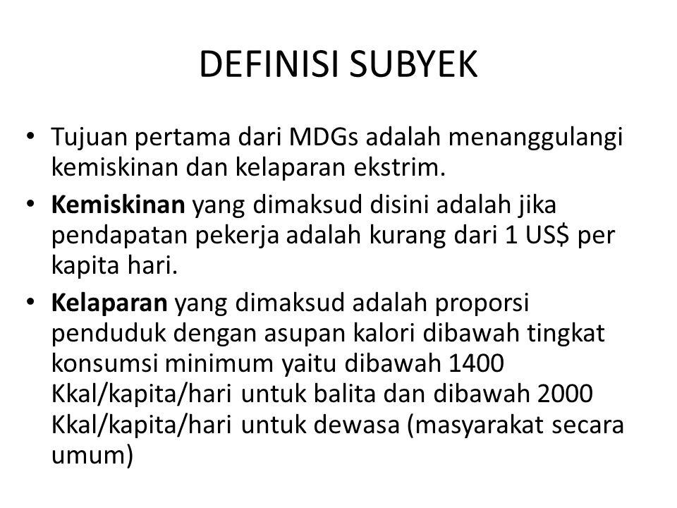 DEFINISI SUBYEK Tujuan pertama dari MDGs adalah menanggulangi kemiskinan dan kelaparan ekstrim. Kemiskinan yang dimaksud disini adalah jika pendapatan