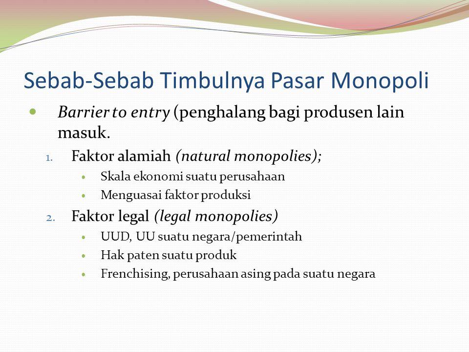 Sebab-Sebab Timbulnya Pasar Monopoli Barrier to entry (penghalang bagi produsen lain masuk.