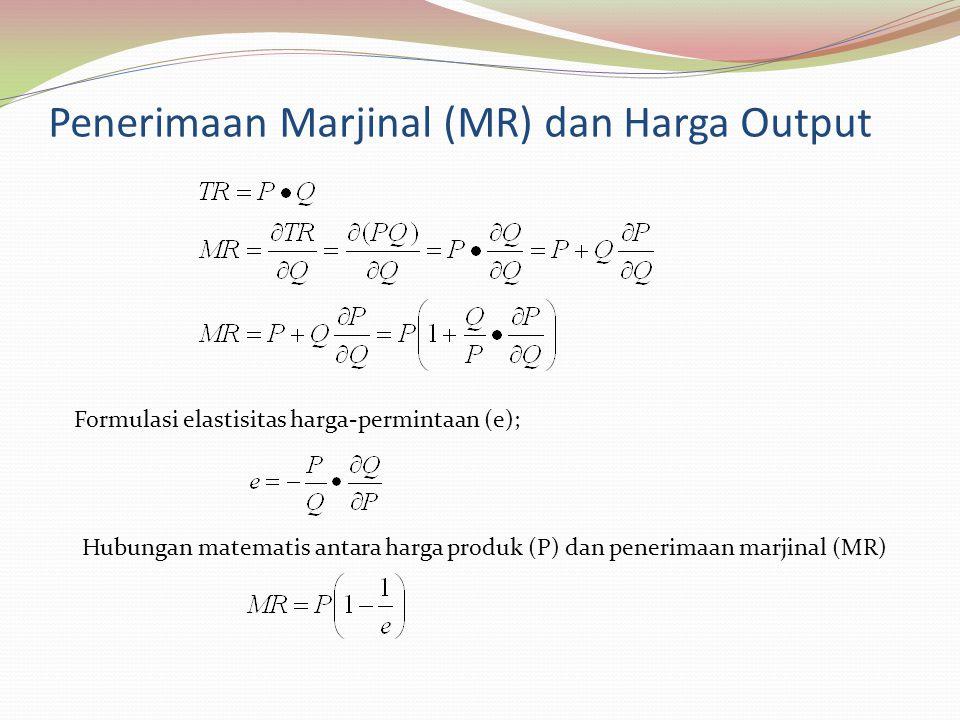 Penerimaan Marjinal (MR) dan Harga Output Formulasi elastisitas harga-permintaan (e); Hubungan matematis antara harga produk (P) dan penerimaan marjinal (MR)