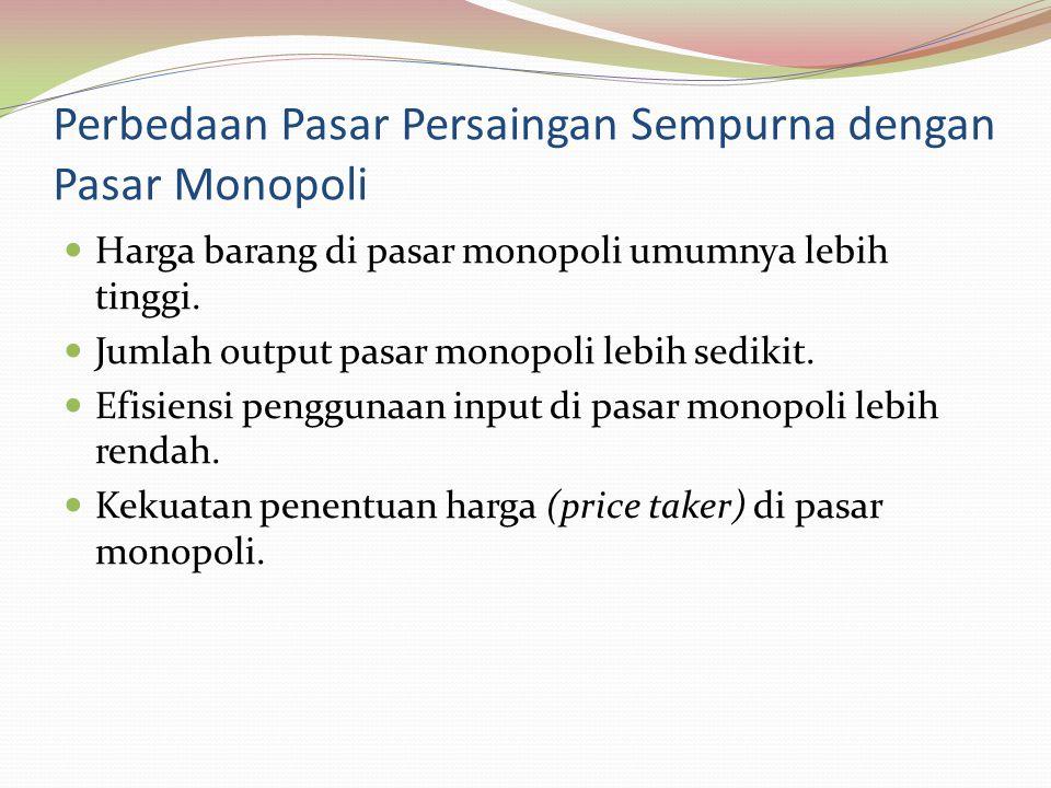 Perbedaan Pasar Persaingan Sempurna dengan Pasar Monopoli Harga barang di pasar monopoli umumnya lebih tinggi.