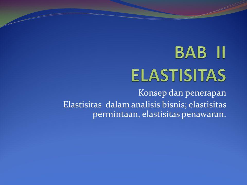 Konsep dan penerapan Elastisitas dalam analisis bisnis; elastisitas permintaan, elastisitas penawaran.