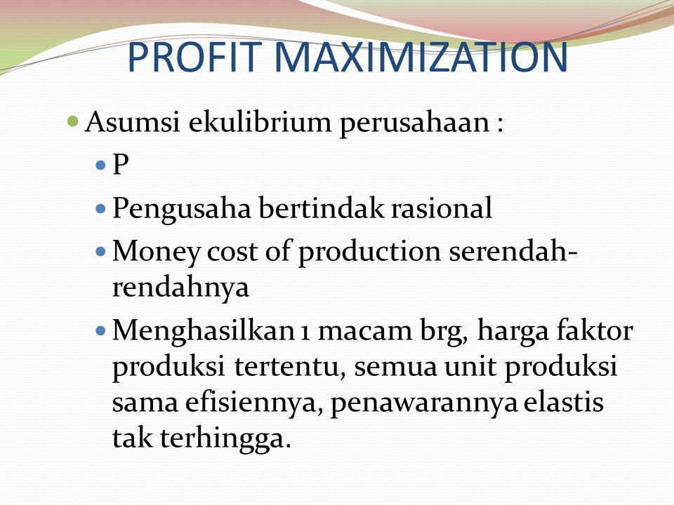 PROFIT MAXIMIZATION Asumsi ekulibrium perusahaan : P Pengusaha bertindak rasional Money cost of production serendah- rendahnya Menghasilkan 1 macam brg, harga faktor produksi tertentu, semua unit produksi sama efisiennya, penawarannya elastis tak terhingga.