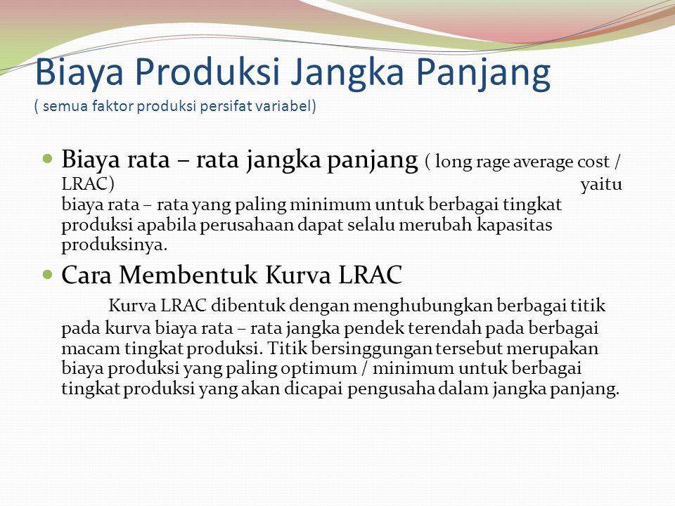 Biaya Produksi Jangka Panjang ( semua faktor produksi persifat variabel) Biaya rata – rata jangka panjang ( long rage average cost / LRAC)yaitu biaya rata – rata yang paling minimum untuk berbagai tingkat produksi apabila perusahaan dapat selalu merubah kapasitas produksinya.