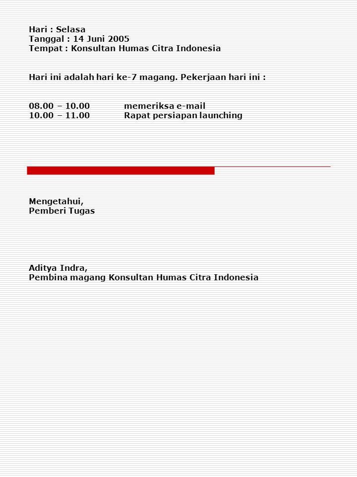 Hari : Selasa Tanggal : 14 Juni 2005 Tempat : Konsultan Humas Citra Indonesia Hari ini adalah hari ke-7 magang. Pekerjaan hari ini : 08.00 – 10.00meme