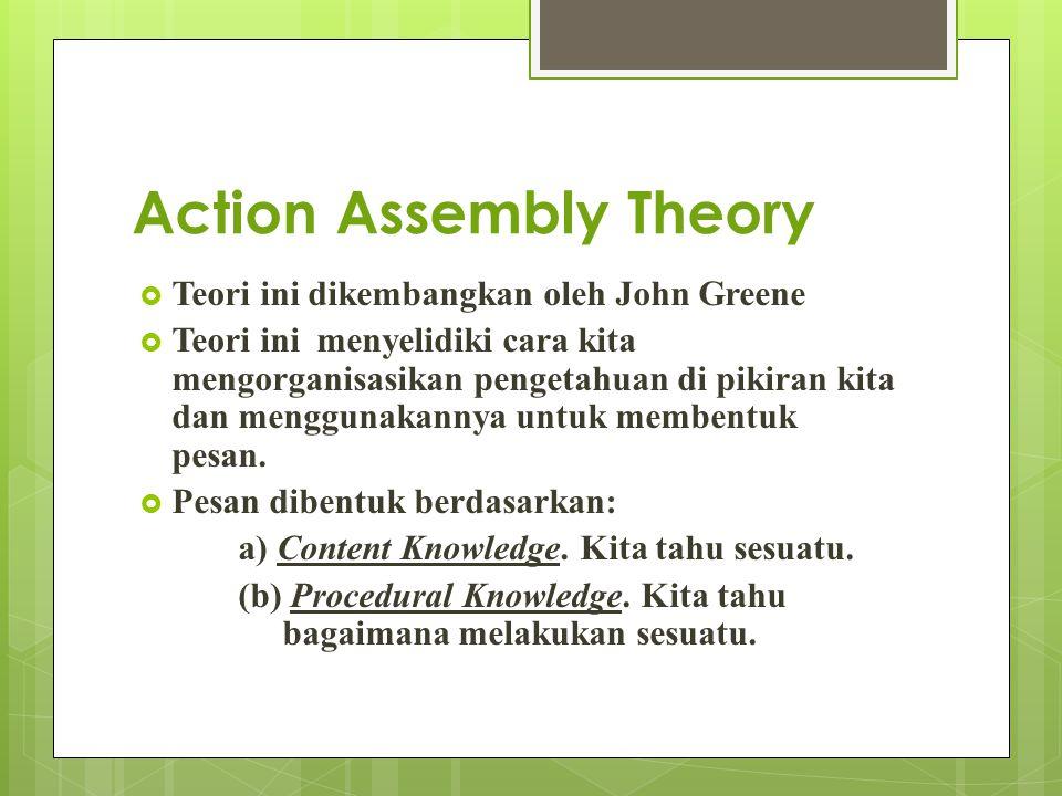 Action Assembly Theory  Teori ini dikembangkan oleh John Greene  Teori ini menyelidiki cara kita mengorganisasikan pengetahuan di pikiran kita dan m