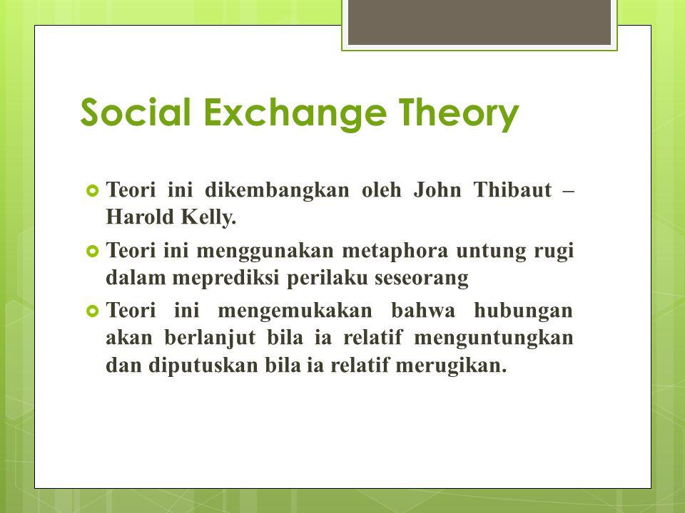 Social Exchange Theory  Teori ini dikembangkan oleh John Thibaut – Harold Kelly.  Teori ini menggunakan metaphora untung rugi dalam meprediksi peril