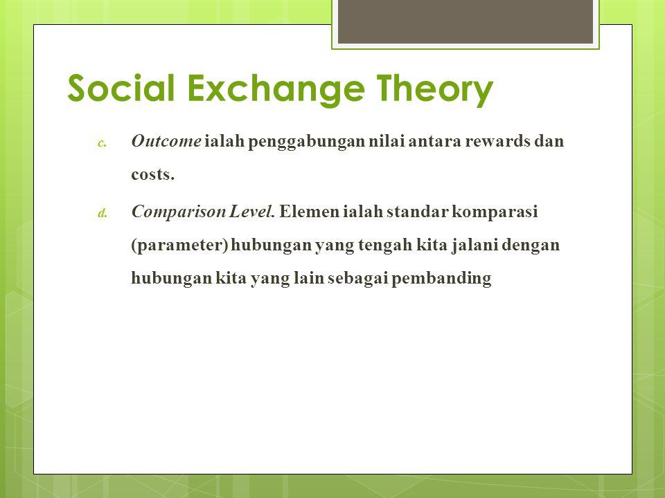 Social Exchange Theory c. Outcome ialah penggabungan nilai antara rewards dan costs. d. Comparison Level. Elemen ialah standar komparasi (parameter) h