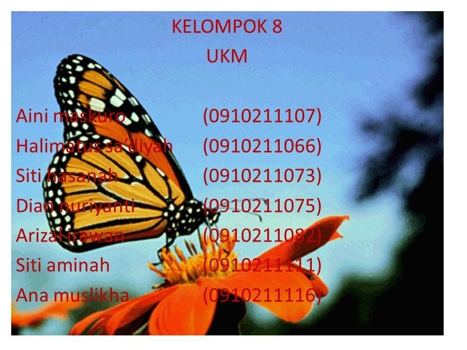 KELOMPOK 8 UKM Aini maskuro (0910211107) Halimatus sa'diyah (0910211066) Siti hasanah (0910211073) Dian nuriyanti (0910211075) Arizal irawan (09102110