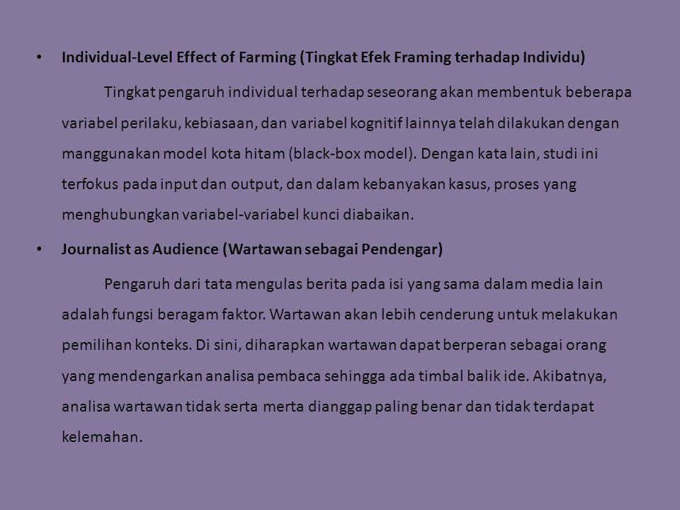 Individual-Level Effect of Farming (Tingkat Efek Framing terhadap Individu) Tingkat pengaruh individual terhadap seseorang akan membentuk beberapa variabel perilaku, kebiasaan, dan variabel kognitif lainnya telah dilakukan dengan manggunakan model kota hitam (black-box model).