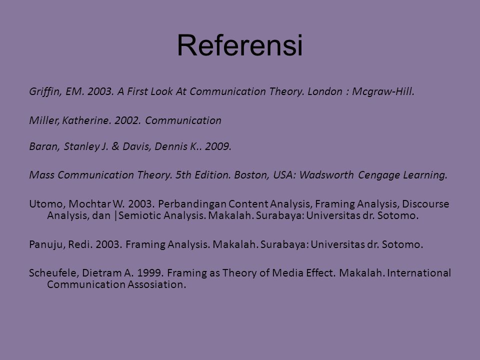 Referensi Griffin, EM.2003. A First Look At Communication Theory.