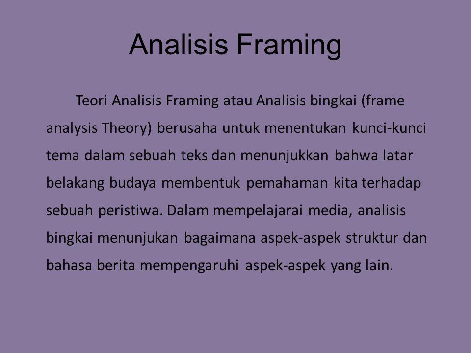 Analisis Framing Teori Analisis Framing atau Analisis bingkai (frame analysis Theory) berusaha untuk menentukan kunci-kunci tema dalam sebuah teks dan