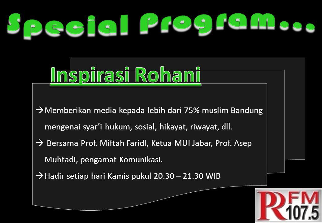  Memberikan media kepada lebih dari 75% muslim Bandung mengenai syar'i hukum, sosial, hikayat, riwayat, dll.  Bersama Prof. Miftah Faridl, Ketua MUI