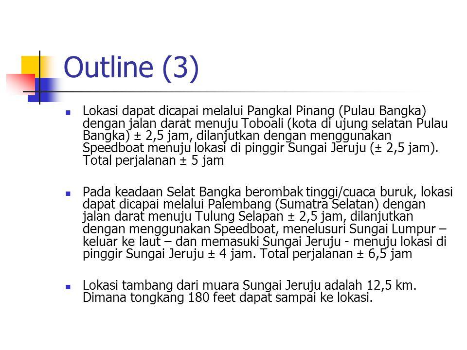 Outline (3) Lokasi dapat dicapai melalui Pangkal Pinang (Pulau Bangka) dengan jalan darat menuju Toboali (kota di ujung selatan Pulau Bangka) ± 2,5 ja